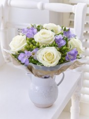 Fragrant White Rose and Freesia Jug