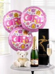 Celebratory Champagne, Baby Girl Balloons and Teddy Bear