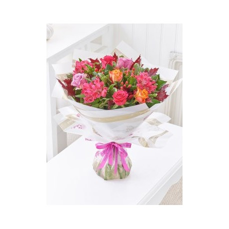 Happy Birthday Autumn Rose and Alstroemeria Hand-tied