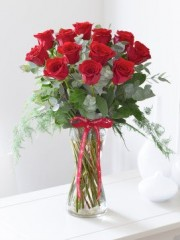 Happy Anniversary Elegant Red Rose Vase
