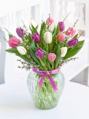 Happy Birthday Tulip Elegance Vase